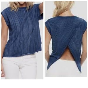 Anthropologie Cloth & Stone Blue Open Back Shirt S